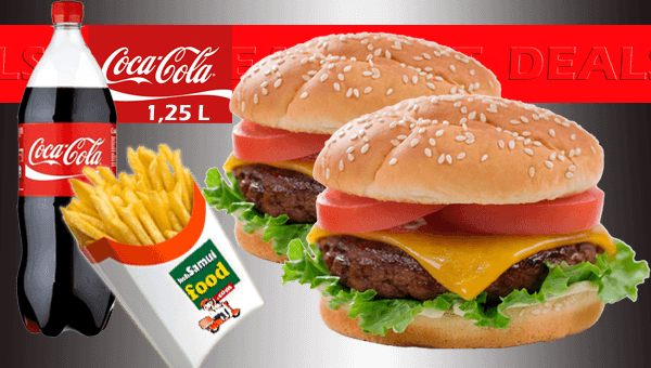 SET 2. Two  Cheese Burgers  with fries and  Cola (1,25 L)