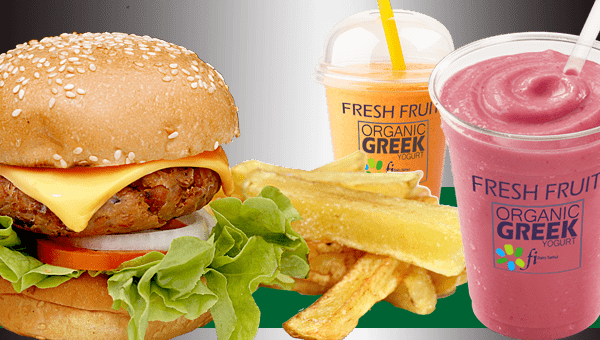 SET 5.  Veggie Cheese Burger - French Fries and Smoothie