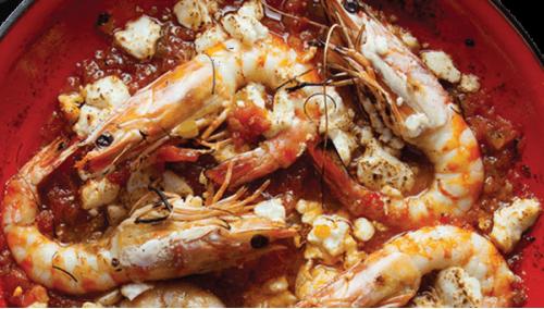 016. Shrimps Saganaki